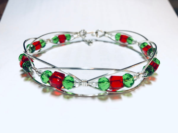 Custom Sterling and Swarovski Christmas bracelet