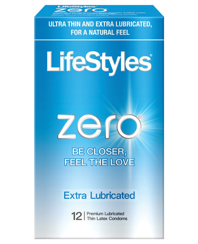 Lifestyles Zero Extra Lubricated Condoms - Pack Of 12