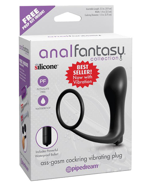 Anal Fantasy Collection Ass Gasm Vibrating Plug W-cockring