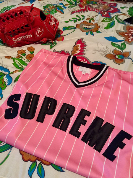 Pink Supreme Pin Stripe Baseball Jersey SS17 The Firehouse The Firehouse - The Firehouse DTX