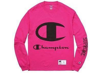SUPREME X CHAMPION L/S LONG SLEEVE MAGENTA SS17-The Firehouse
