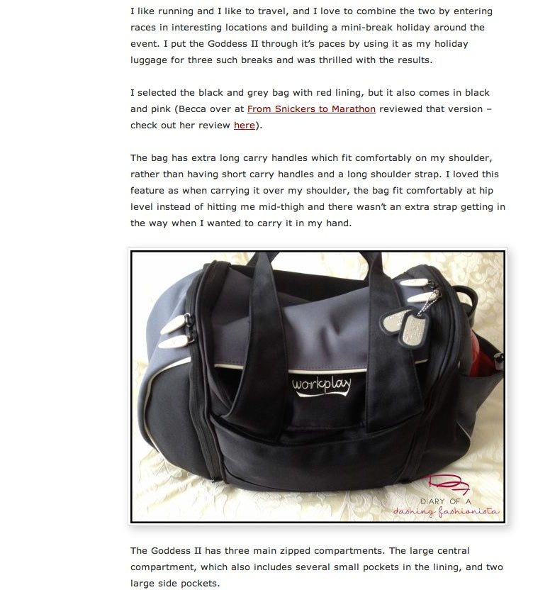 goddess II travel bag review diary dashing fashionista 2