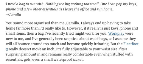 Review of the Workplay Bags Running bag by Kate Carter in the Guardian