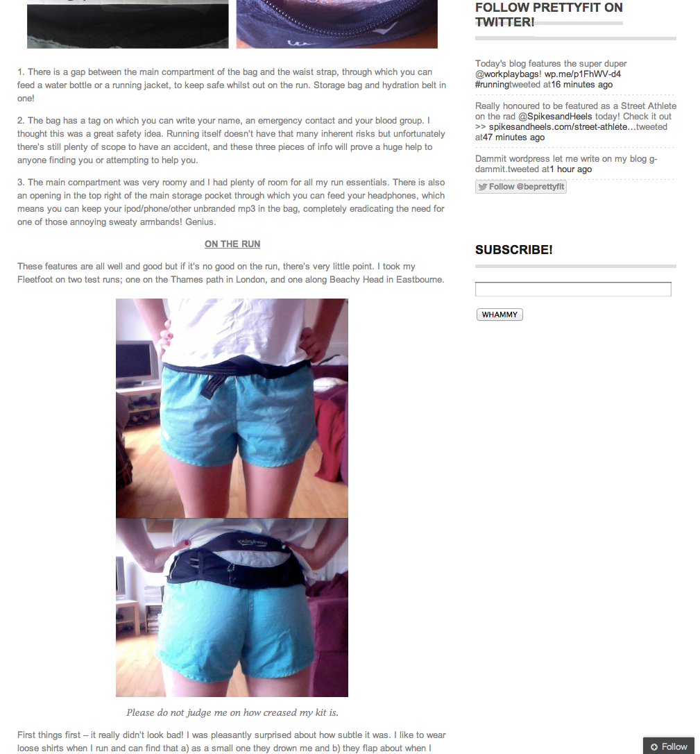 Fleetfoot II running belt review Pretty Fit blog 3