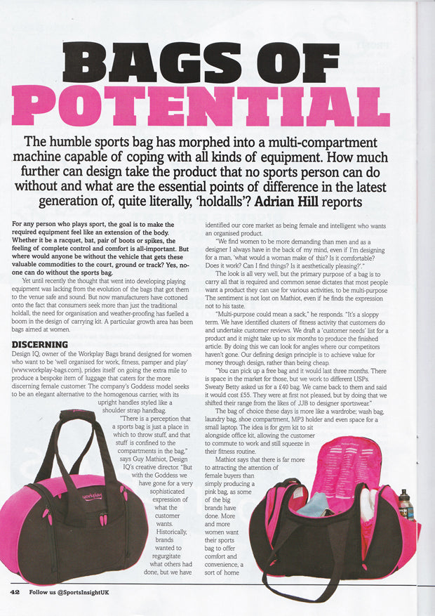 Sports Insight magazine goddess ii gym bag 1