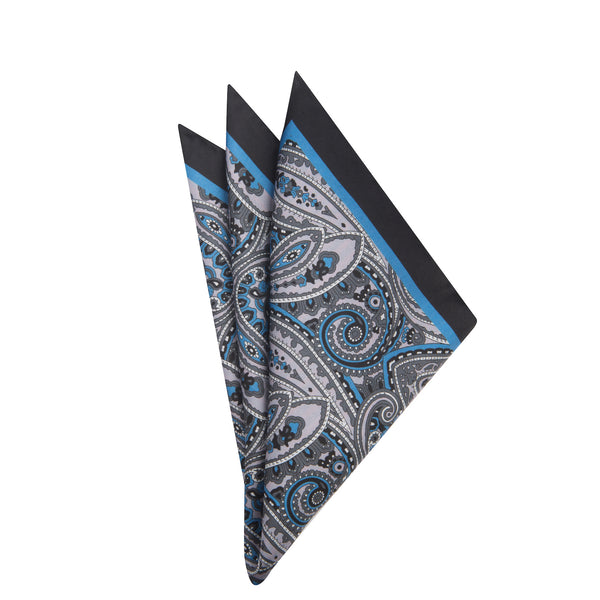 Grey Paisely Pocket Square