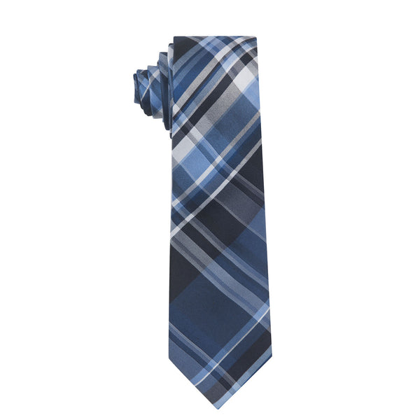 Castle Plaid Navy & Black Silk Necktie
