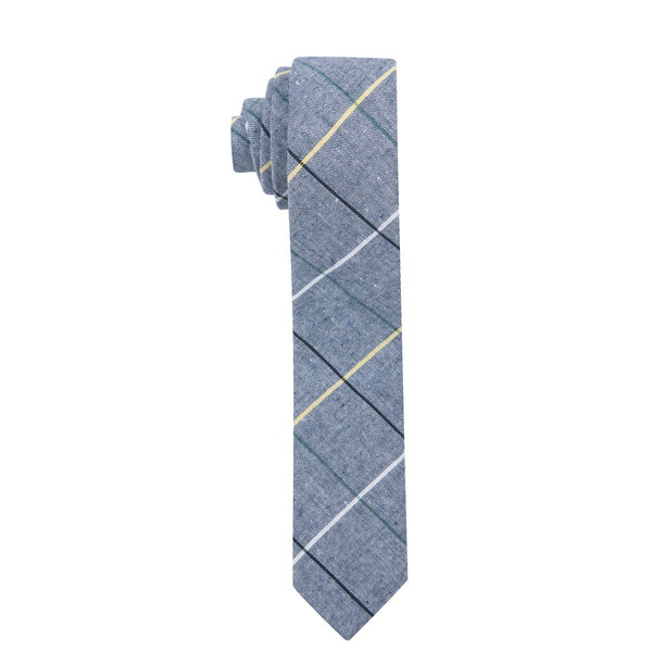 Clark Skinny Dark Blue Cotton Necktie
