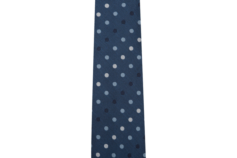 Dots Navy, Light Blue & White Silk Necktie