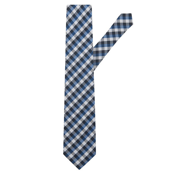 Gingham Check Navy, Dark Blue & White Silk Necktie