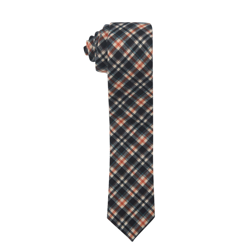 Highland Plaid Slim Cotton Necktie