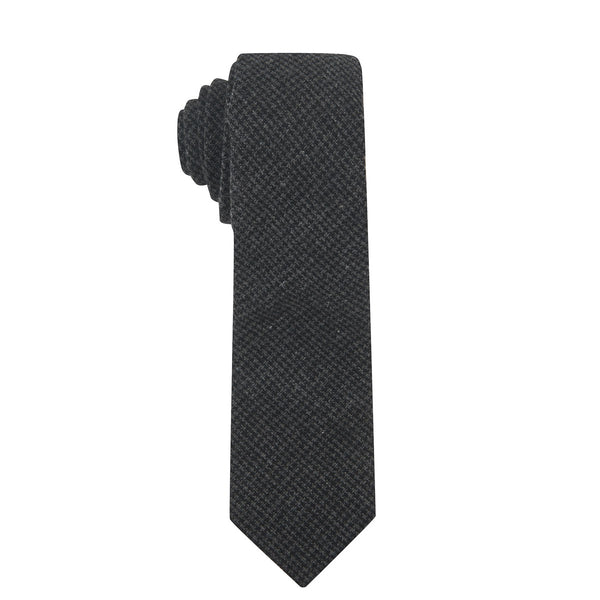 Fine Dark Grey & Black Houndstooth Necktie