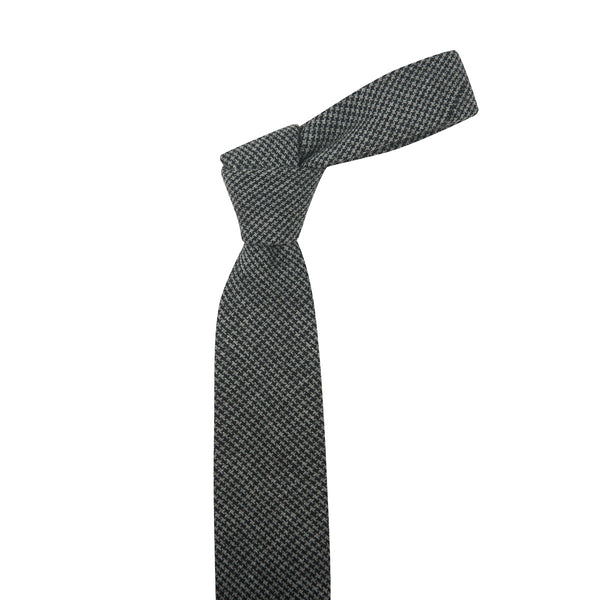 Fine Light Grey & Black Houndstooth Necktie
