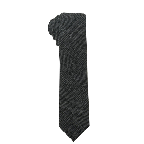 Prince of Wales Dark Grey & Black Plaid Necktie