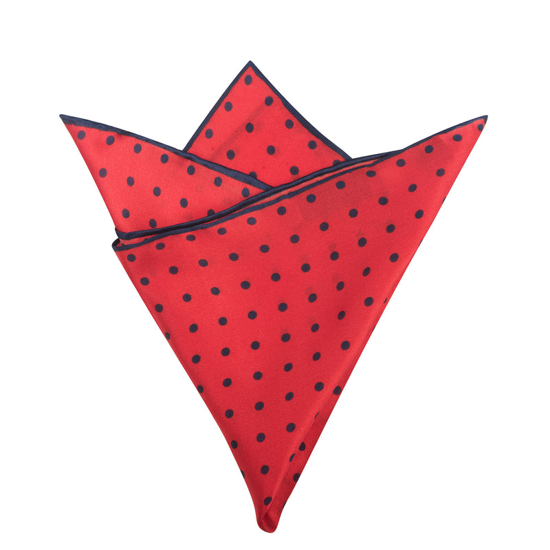 Red with Navy Polka Dots Pocket Square