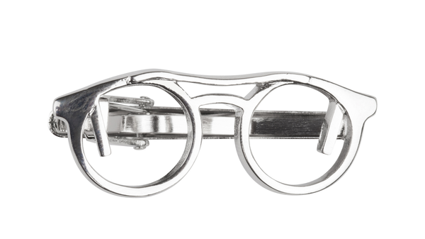Spectacles Silver Tie Clip