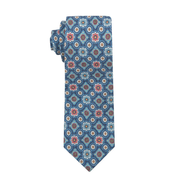 Vintage Medallion Navy Cotton Printed Necktie