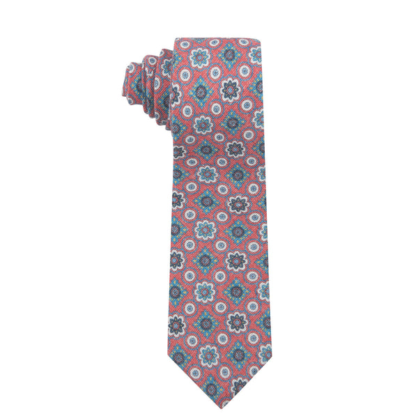 Vintage Medallion Red Cotton Printed Necktie