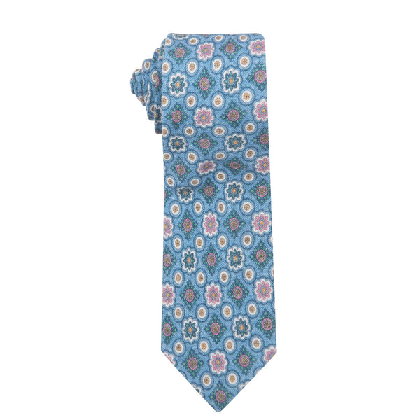 Vintage Medallion Light Blue Cotton Printed Necktie