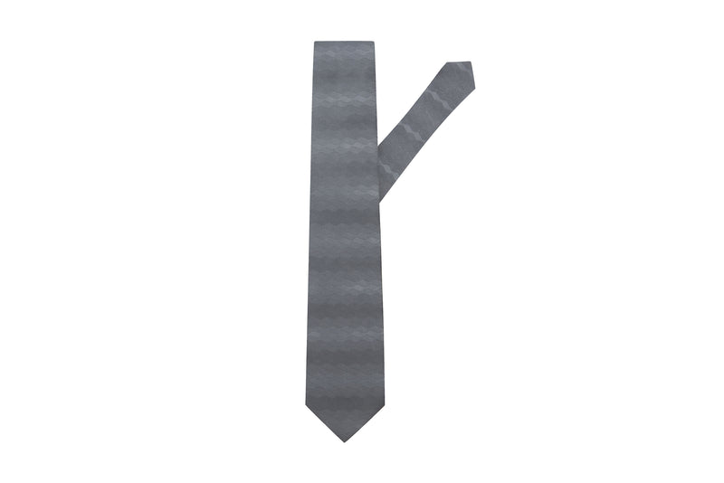 Wave Steel grey Silk Necktie