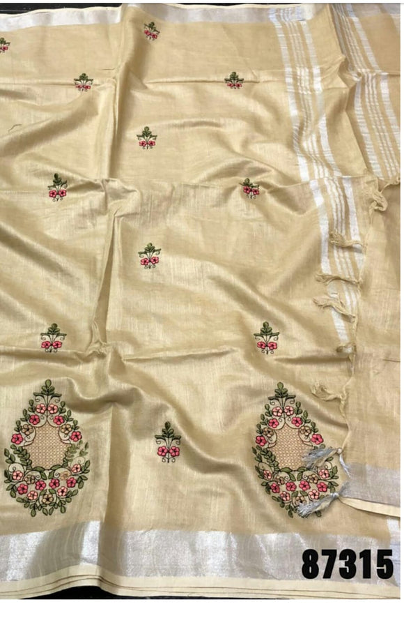 Gold embroidered Pure Linen With Fancy Thread Work