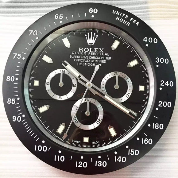 Rolex Daytona Black Wall Clock