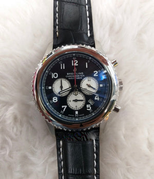 Breitling Chronometer Navitimer Black Dial Leather Strap Watch