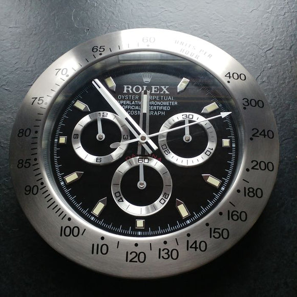 Rolex Daytona Black Dial Wall Clock