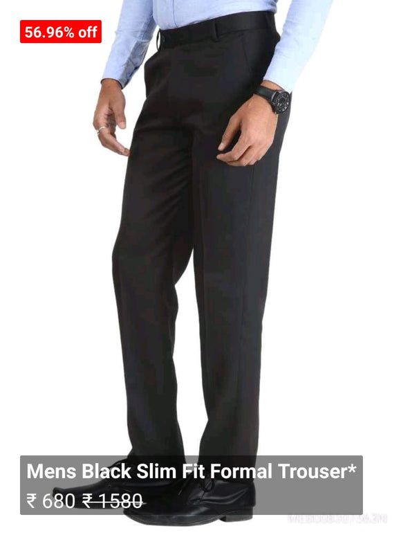 Mens Black Slim Fit Formal Trouser*