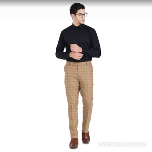 Mens Khaki Stretchable Checkered Formal Trouser*