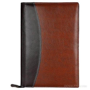 Leatherette Material File Folders for Certificates, Documents Holder with 20 Leafs (Light Brown)
