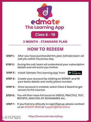 3-Month - Standard Plan - Classes 6 to 10 Edmate