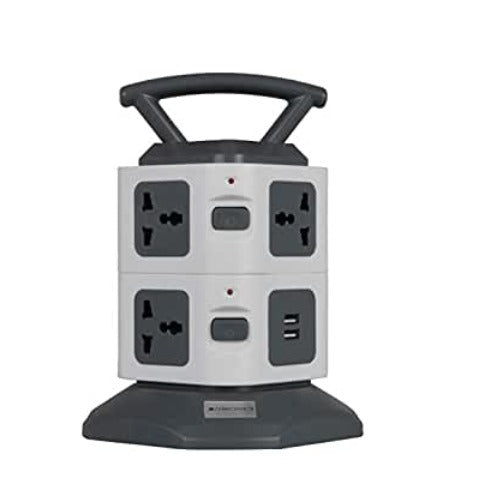 Zebronics Zeb- TS3320USB Tower Strip Extension Socket with 7 Universal Socket, 2 USB Ports and 2.8 m Long Cable