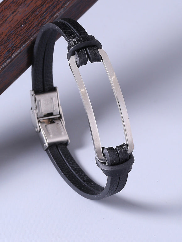 Men Black & Silver-Plated Leather Handcrafted Wraparound Bracelet