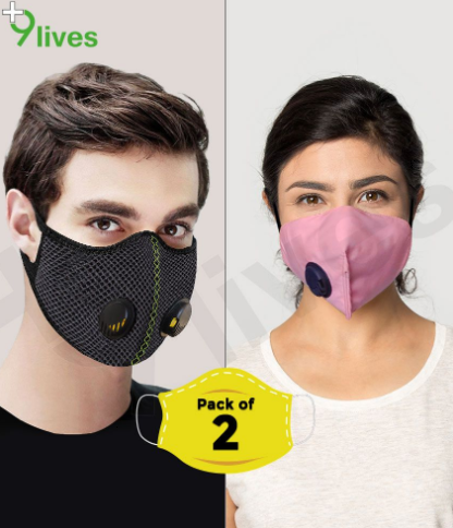 9lives 3 Layer Protection Fabric Reusable Respiratory Mask- (Black+Pink, Pack of 2)