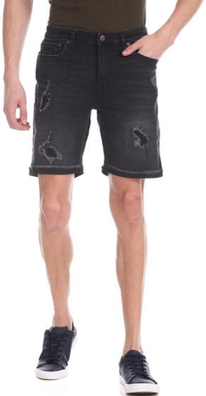 Aeropostale Black Distressed Casual Shorts