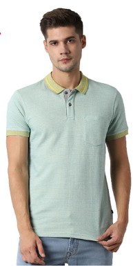 Peter England Green Slim Fit T-Shirt