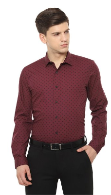 Louis Philippe Sport Maroon Printed Shirt