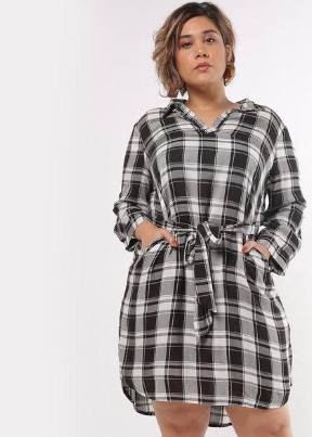 Black big checked dress casual wear regular fit