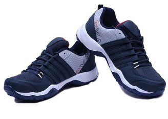 Panelled Lace-Up Sports Shoes