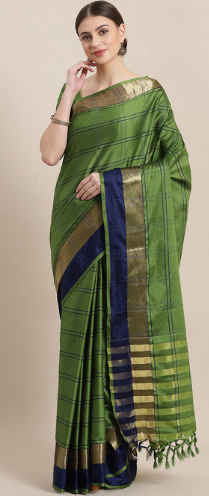 Saree Mall Green & Blue Stripes Saree With Unstitched Blouse