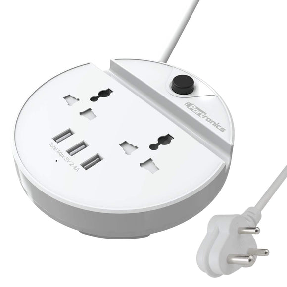 Portronics Power BUN, a Surge Protector with 2 AC Outlets and 3 USB Charging Ports Plus a Phone Docking Station, 1.5 Meter Power Cord, LED Indicator, White