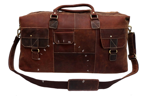 Travel Bag, 100% Real Leather Weekend Bag,