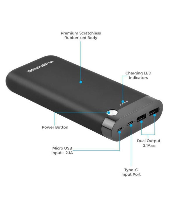 Ambrane PP-20 20000 MAH Li Polymer Power Bank Black