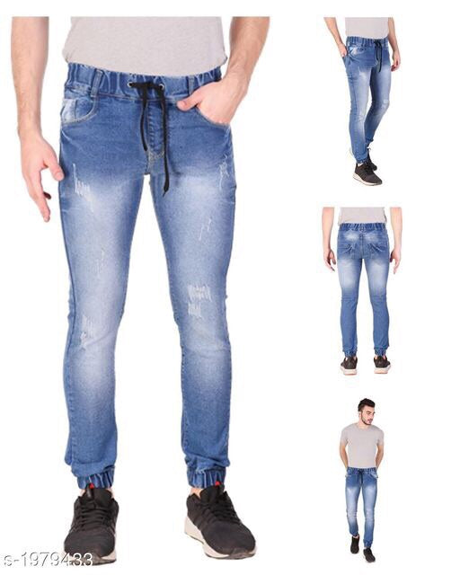 Men's solid Lycra denim