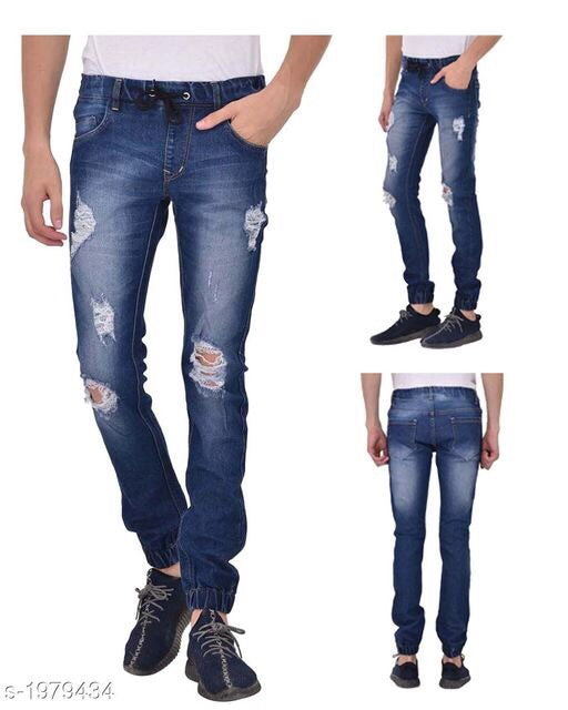 Men's torn denim solid wear Lycra