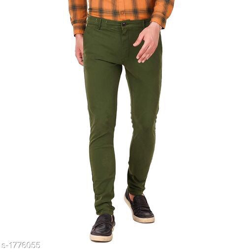 Men's Stylish Cotton Solid Trousers