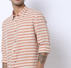Striped Slim Fit Linen Shirt with patch pocket