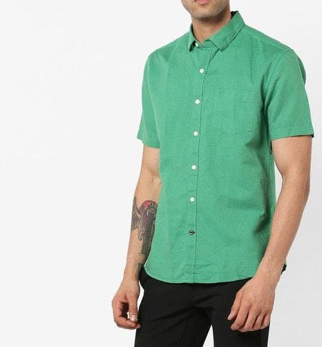 Slim Fit Linen Shirt with patch pocket