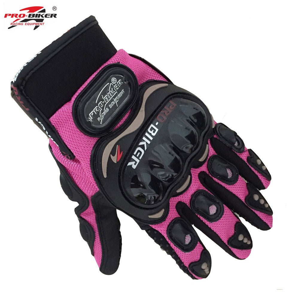 Pro biker women motorcycle gloves size S ,M electric bicycle female small size full finger gloves orange pink color gloves